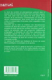 Manuel droit des societes - 4ème de couverture - Format classique