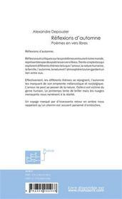 Reflexions d'automne - 4ème de couverture - Format classique