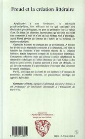 Freud Et La Creation Litteraire - 4ème de couverture - Format classique