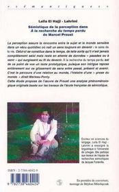 Sémiotique de la perception ; à la recherche du temps perdu de Marcel Proust - 4ème de couverture - Format classique