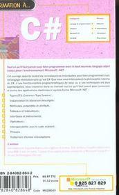 Formation A C# - 4ème de couverture - Format classique