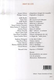 Adolescence t.59 ; droit de cité (édition 2007) - 4ème de couverture - Format classique