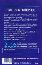 CREER SON ENTREPRISE (édition 2005) - 4ème de couverture - Format classique