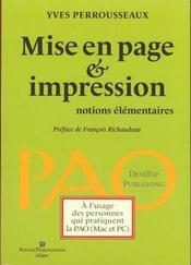 Mise en page et impression ; notions élémentaires - Intérieur - Format classique