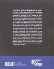 100 Ans D'Open De France De Golf - 4ème de couverture - Format classique