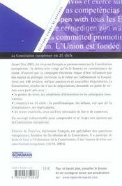 La constitution europeenne en 25 cles - 4ème de couverture - Format classique