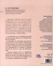 La vie historique manuscrits relatifs a une suite de l'edification du monde historique dans les scie - 4ème de couverture - Format classique