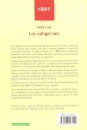 Droit Civil Les Obligations ; 17e Edition - 4ème de couverture - Format classique