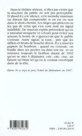 Le Gai Savoir De L'Acteur - 4ème de couverture - Format classique