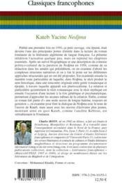 Nedjma de Kateb Yacine - 4ème de couverture - Format classique