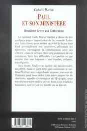 Paul et son ministere deuxieme lettres aux corinthiens - 4ème de couverture - Format classique