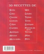 30 recettes de pates - 4ème de couverture - Format classique
