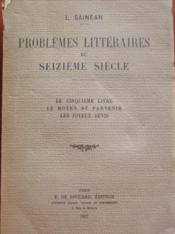 Problèmes littéraires du seizième siècle. - Couverture - Format classique