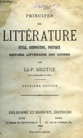 Principes De Litterature, Style, Composition, Poetique, Histoire Litteraire Des Genres - Couverture - Format classique