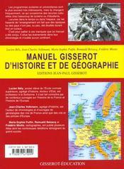 Manuel Gisserot D'Histoire Et Geographie - 4ème de couverture - Format classique