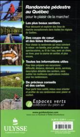 Randonnée pédestre au Québec (8e édition) - 4ème de couverture - Format classique