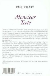 Monsieur Teste - 4ème de couverture - Format classique