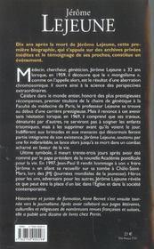 Jérôme Lejeune - 4ème de couverture - Format classique