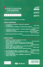 POLITIQUE D'EDUCATION ET DE FORMATION N.8 ; former les enseignants: évolutions et ruptures - 4ème de couverture - Format classique