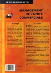 Management de l'unité commerciale ; livre - 4ème de couverture - Format classique