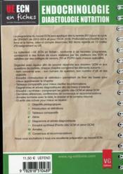 Ue ecn en fiches endocrinologie - 4ème de couverture - Format classique