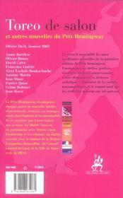 Toréo de salon autres nouvelles - 4ème de couverture - Format classique