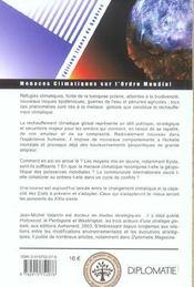 Menaces climatiques sur l'ordre mondial - 4ème de couverture - Format classique