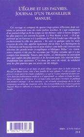 L'Eglise Et Les Pauvres ; Journal D'Un Travailleur Manuel - 4ème de couverture - Format classique