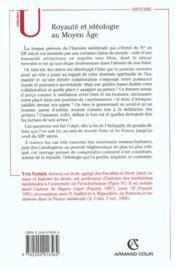 Royaute et ideologie au moyen age ; bas-empire monde franc france ; iv-xii siecle - 4ème de couverture - Format classique