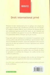 Droit International Prive ; 14e Edition - 4ème de couverture - Format classique