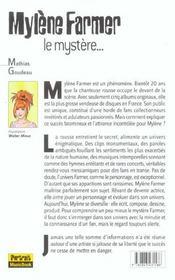 Mylène Farmer, le mystère - 4ème de couverture - Format classique