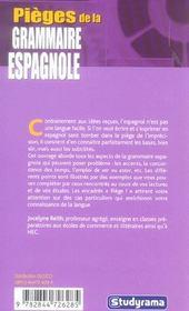 Pieges de la grammaire espagnole - 4ème de couverture - Format classique