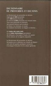 Le Dictionnaire Des Proverbes Et Dictons ; 20e Edition - 4ème de couverture - Format classique