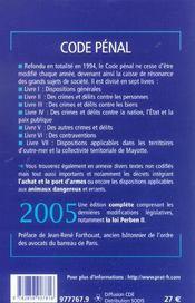 Code Penal 2005 - 4ème de couverture - Format classique