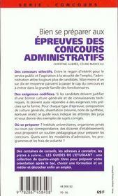 Bien Se Preparer Aux Epreuves Des Concours Administratifs 99 - 4ème de couverture - Format classique