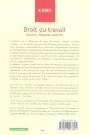 Droit Du Travail T.1 ; Rapports Collectifs - 4ème de couverture - Format classique