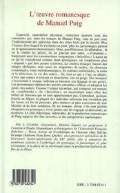 L'Oeuvre Romanesque De Manuel Puig ; Figures De L'Enfermement - 4ème de couverture - Format classique