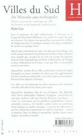 Villes Du Sud ; De Massalia Aux Technopoles - 4ème de couverture - Format classique