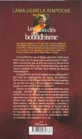Les mots cles du bouddhisme - 4ème de couverture - Format classique