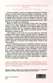La vie et les écrits de Bernard Nicolas Lorinet (1749-1814) ; un médecin des Lumières dans la Révolution - 4ème de couverture - Format classique