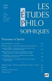 REVUE LES ETUDES PHILOSOPHIQUES N.2007/2 ; personne et ipséité - Intérieur - Format classique
