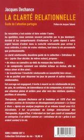 Clarte relationnelle (la) - 4ème de couverture - Format classique
