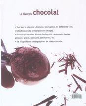 Le livre du chocolat - 4ème de couverture - Format classique