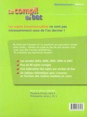 La compil du bac 2003-2007 ; maths ; série s - 4ème de couverture - Format classique