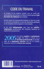 Code Du Travail - 4ème de couverture - Format classique