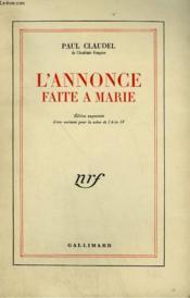 L'Annonce Faite A Marie. - Couverture - Format classique
