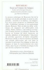 Essai sur l'origine des langues - 4ème de couverture - Format classique