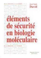 Elements de securite en biologie moleculaire - Couverture - Format classique