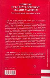 L'Origine Et Le Developpement Des Arts Martiaux. Pour Une Anthropologie Des Techniques Du Corps - 4ème de couverture - Format classique