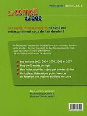 La compil du bac 2003-2007 ; philosophie ; séries l, es, s - 4ème de couverture - Format classique